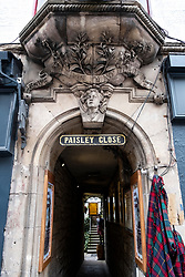 Detail of Paisley Close decoration on Royal Mile in Edinburgh Old Town, Scotland, United Kingdom