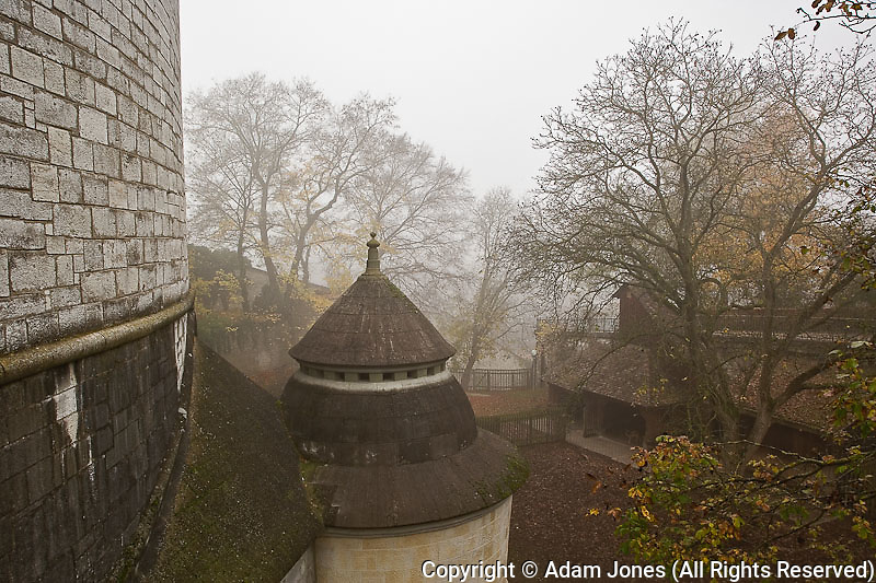 Munot Castle on foggy autumn morning, Schaffhausen, Switzerland