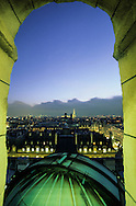 France. Paris. Elevated view on Paris cityscape and the Eiffel tower. Paris and the Eiffel tower , view from the Sorbonne astronomic observatory. Before to publish an image of the Eiffel tower lighting you should contact SETE; Mr Dieu at +33144112399 particularly for advertinsing.
