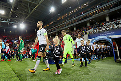 MOSCOW, RUSSIA - Tuesday, September 26, 2017: Liverpool's captain Jordan Henderson leads his side out to face FC Spartak Moscow during the UEFA Champions League Group E match between Spartak Moscow and Liverpool at the Otkrytie Arena. (Pic by David Rawcliffe/Propaganda)