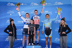 Top three on the stage: Megan Guarnier, Anna van der Breggen & Arlenis Sierra at Amgen Breakaway from Heart Disease Women's Race empowered with SRAM (Tour of California) - Stage 1. A 117km road race around Lake Tahoe, USA on 11th May 2017.