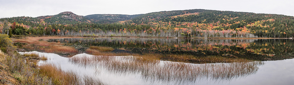 Fall foliage colors reflect in Upper Hadlock Pond, in Acadia National Park, on Mount Desert Island, near Bar Harbor, Maine, USA. Hike granite peaks and enjoy Atlantic coastal scenery. Originally created as Lafayette National Park in 1919, the oldest National Park east of the Mississippi River, it was renamed Acadia in 1929. During the last glacial maximum 21,000 years ago, glaciers measuring up to 9,000 feet thick cut into granite ridges, sculpting the fjord-like Somes Sound. The panorama was stitched from 6 overlapping photos.