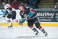 KELOWNA, CANADA - OCTOBER 22: Colton Heffley #25 of the Kelowna Rockets skates against the Calgary Hitmen on October 22, 2013 at Prospera Place in Kelowna, British Columbia, Canada.   (Photo by Marissa Baecker/Shoot the Breeze)  ***  Local Caption  ***