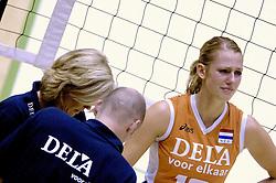 16-10-2006 VOLLEYBAL: DELA TROPHY: NEDERLAND - CUBA: ROTTERDAM<br /> De Nederlandse volleybalsters hebben de derde wedstrijd in de testserie tegen Cuba, met als inzet de Dela Cup, verloren. In Rotterdam zegevierde Cuba met 3-1 / Blessure voor Debby Stam, pink uit de kom<br /> ©2006-WWW.FOTOHOOGENDOORN.NL