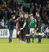4th November 2017, Easter Road, Edinburgh, Scotland; Scottish Premiership football, Hibernian versus Dundee; Dundee manager Neil McCann and assistant manager Graham Gartland rage at referee John Beaton at the end