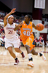 December 19, 2009; Stanford, CA, USA;  Tennessee Lady Volunteers guard/forward Shekinna Stricklen (40) is guarded by Stanford Cardinal guard Rosalyn Gold-Onwude (21) during the second half at Maples Pavilion.  Stanford defeated Tennessee 67-52.