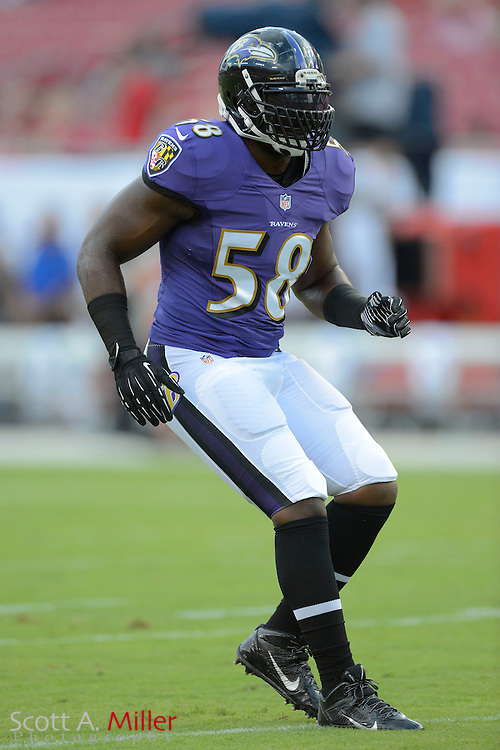 Baltimore Ravens linebacker Elvis Dumervil (58) during a preseason NFL game at Raymond James Stadium on Aug. 8, 2013 in Tampa, Florida. <br /> <br /> &copy;2013 Scott A. Miller