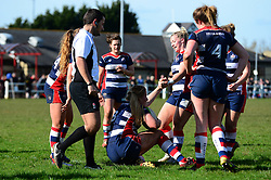Poppy Cleall of Bristol Ladies is helped up by Sian Moore after scoring a try  - Mandatory by-line: Dougie Allward/JMP - 26/03/2017 - RUGBY - Cleve RFC - Bristol, England - Bristol Ladies v Wasps Ladies - RFU Women's Premiership