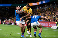 SYDNEY, AUSTRALIA - SEPTEMBER 07: Lukhan Salakaia-Loto of the Wallabies pushes defenders to score during the international rugby test match between the Australian Wallabies and Manu Samoa on September 07, 2019 at Bankwest Stadium in Sydney, Australia. (Photo by Speed Media/Icon Sportswire)