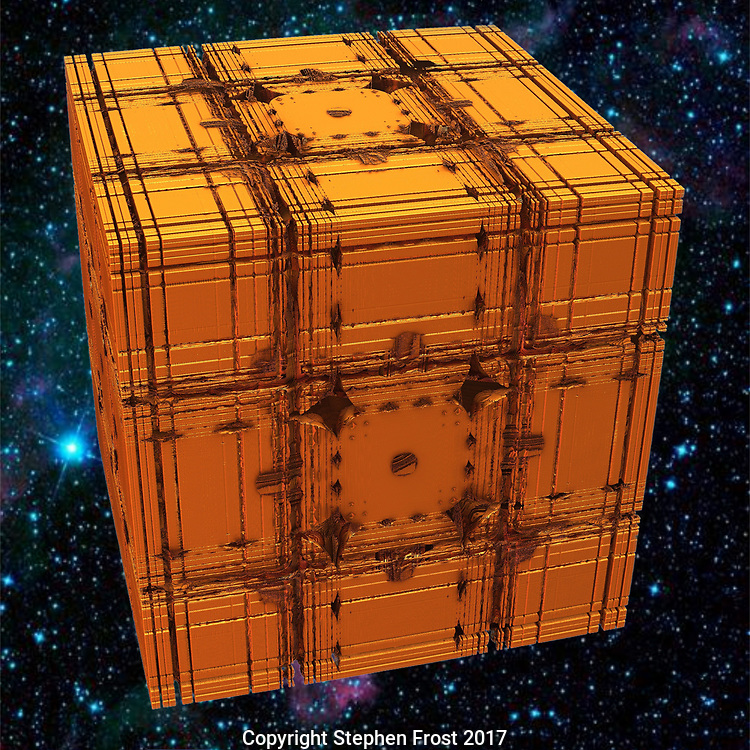 Golden box in space, a digitally produced image based on a fractal cube.