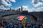 September 17, 2017: BUFvsCAR. Bank of America stadium and a giant American flag