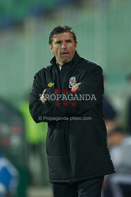 SOFIA, BULGARIA - Tuesday, October 11, 2011: Wales' manager Gary Speed MBE during the UEFA Euro 2012 Qualifying Group G match against Bulgaria at the Vasil Levski National Stadium. (Pic by David Rawcliffe/Propaganda)