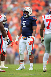 Auburn Tigers defensive lineman Derrick Brown (5) looks on during an NCAA football game against the Mississippi Rebels, Saturday, October 7, 2017, in Auburn, AL. Auburn won 44-23. (Paul Abell via Abell Images for Chick-fil-A Peach Bowl)