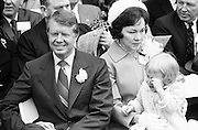 Georgia state senator and governor elect Jimmy Carter at his 1971 gubernatorial inauguration. Carter succeeded segregationist Lester Maddox as Georgia governor. Carter is seated with his wife Rosalyn and daughter Amy. - To license this image, click on the shopping cart below -