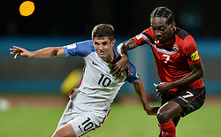 October 10, 2017 - Couva, Caroni County, Trinidad & Tobago - Couva, Trinidad & Tobago - Tuesday Oct. 10, 2017: Christian Pulisic, Nathan Lewis during a 2018 FIFA World Cup Qualifier between the men's national teams of the United States (USA) and Trinidad & Tobago (TRI) at Ato Boldon Stadium. (Credit Image: © John Todd/ISIPhotos via ZUMA Wire)