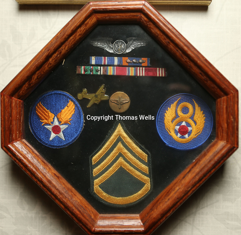 Wallace Crumby stills has his service medals and patches from his service in WWII.