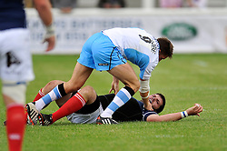 Henry Pyrgos (Glasgow Warriors) tussles with Max Maidment (London Scottish) off the ball - Photo mandatory by-line: Patrick Khachfe/JMP - Mobile: 07966 386802 30/08/2014 - SPORT - RUGBY UNION - London - Richmond Athletic Ground - London Scottish v Glasgow Warriors - Pre-Season Friendly