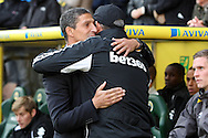 Picture by Paul Chesterton/Focus Images Ltd +44 7904 640267.03/11/2012.Norwich Manager Chris Hughton and Stoke Manager Tony Pulis before the Barclays Premier League match at Carrow Road, Norwich.