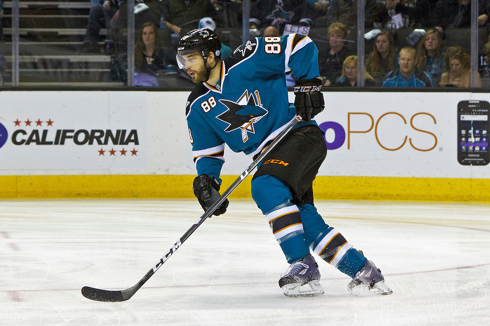 Mar 24, 2012; San Jose, CA, USA; San Jose Sharks defenseman Brent Burns (88) skates with the puck against the Phoenix Coyotes during the first period at HP Pavilion.  San Jose defeated Phoenix 4-3 in shootouts. Mandatory Credit: Jason O. Watson-US PRESSWIRE