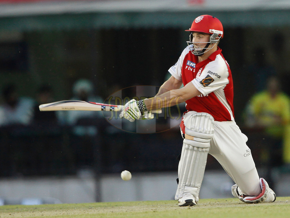 Kings XI Punjab Shaun Marsh plays a shot during match 9 of the Indian Premier League ( IPL ) Season 4 between the Kings XI Punjab and the Chennai Super Kings held at the PCA stadium in Mohali, Chandigarh, India on the 13th April 2011..Photo by Pankaj Nangia/BCCI/SPORTZPICS