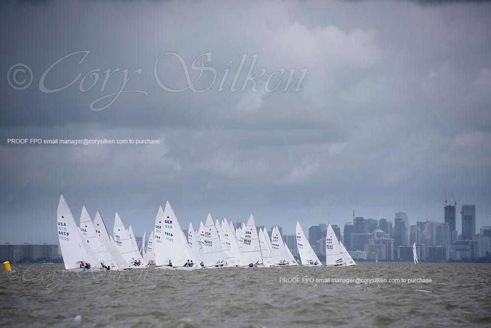 Star Class sailing in the Bacardi Cup, at Bacardi Miami Sailing Week regatta.