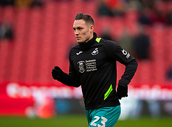 STOKE-ON-TRENT, ENGLAND - Saturday, January 25, 2020: Swansea City's Connor Roberts during the pre-match warm-up before the Football League Championship match between Stoke City FC and Swansea City FC at the Britannia Stadium. (Pic by David Rawcliffe/Propaganda)