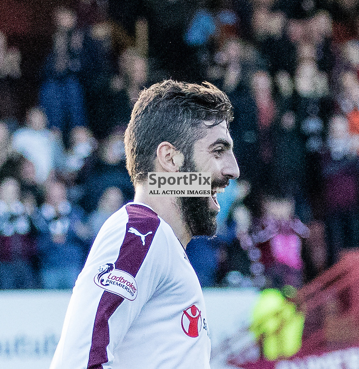 Heart of Midlothian's Juanma Delgado celebrates scoring the opening goal during the Partick Thistle FC V Heart of Midlothian FC Ladbrokes Scottish Premiership game played at Firhill Stadium, Glasgow on 31st October 2015; (c) BERNIE CLARK | SportPix.org.uk