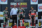 Foto Alessandro La Rocca/LaPresse<br /> 21-06-2015,    8° Round WSBK MIsano World Circuit Marco Simoncelli - 2015<br /> Sport-Motociclismo-WSBK <br />    8° Round WSBK MIsano World Circuit Marco Simoncelli - 2015<br /> nella foto:Tom Sykes vincitore gara 1<br /> <br /> Photo Alessandro La Rocca/ LaPresse<br /> 2015 21 June,    8° Round WSBK MIsano World Circuit Marco Simoncelli - 2015<br /> Sport- WSBK<br />    8° Round WSBK MIsano World Circuit Marco Simoncelli - 2015<br /> in the photo:Tom Sykes vincitore gara 1