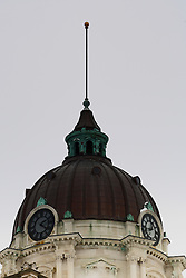01 February 2008: Courthouse dome, flagpole and clock