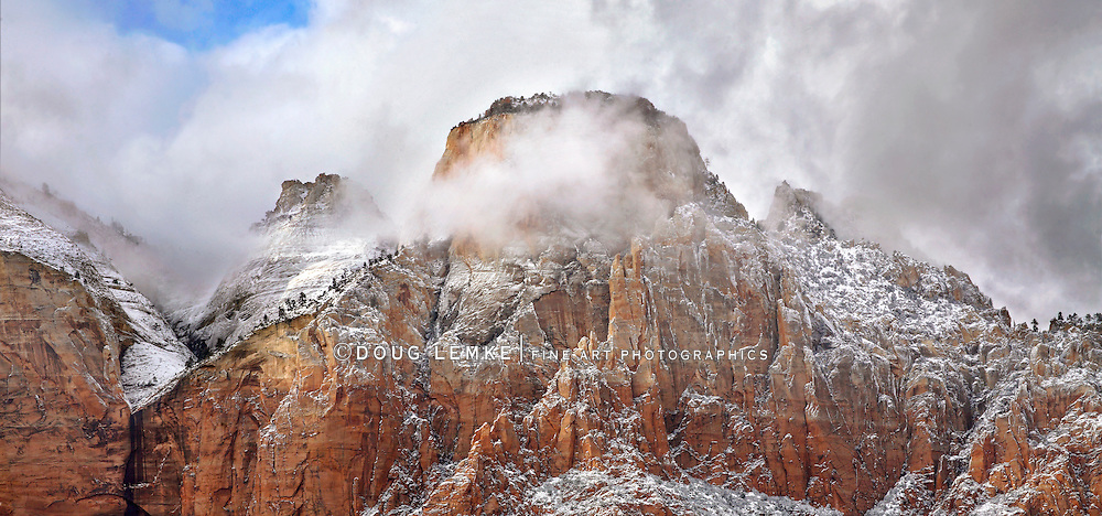 A Storm Shrouded Peak In Winter At Zion National Park, Utah, USA