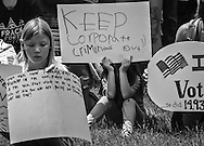 May 31, 2015, Denton, Texas, people in front of Denton's City Hall at a rally in support of the fracking ban.