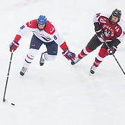 Evan Campbell #8 of the UMass Lowell Riverhawks and Braden Pimm #14 of the Northeastern Huskies in action during the Frozen Fenway game between The Northeastern Huskies and The UMass Lowell Riverhawks at Fenway Park on January 11, 2014 in Boston, Massachusetts.