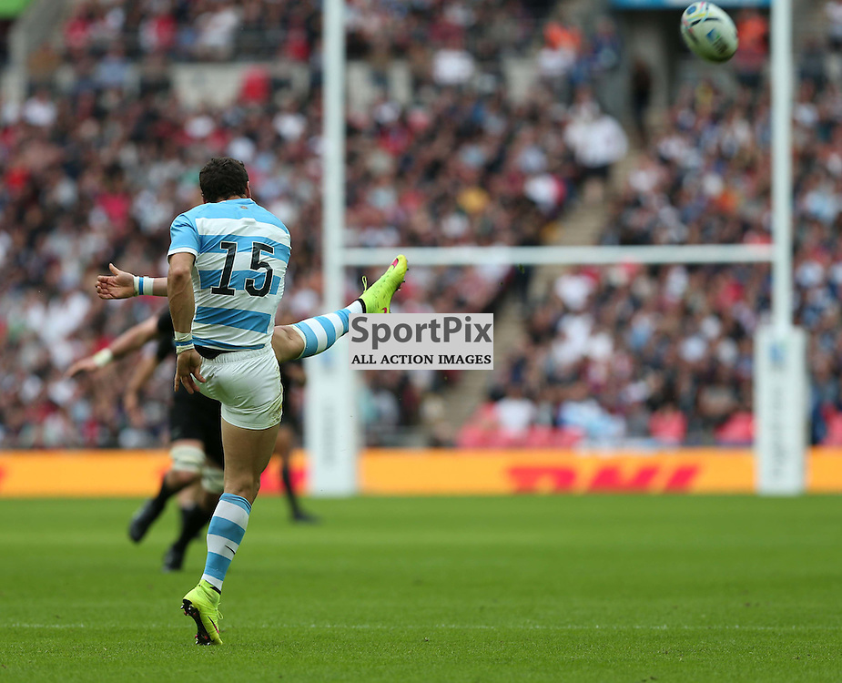 Argentine Full Back Joaquin Tuculet kicks for territory during the Rugby World Cup New Zealand v Argentina, Sunday 20 September 2015, Wembley Stadium (Photo by Mike Poole)