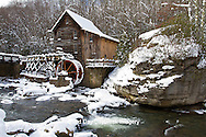67395-04213 Glade Creek Grist Mill in winter, Babcock State Park, WV