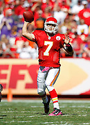 Kansas City Chiefs quarterback Matt Cassel (7) throws a second quarter pass for a first down during the NFL week 4 football game against the Minnesota Vikings on Sunday, October 2, 2011 in Kansas City, Missouri. The Chiefs won the game 22-17. ©Paul Anthony Spinelli