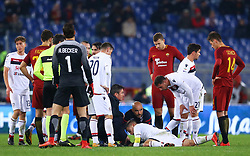 December 16, 2017 - Rome, Italy - Nicolo Barella of Cagliari receiving medical assistance after the injury during the Italian Serie A football match Roma vs Cagliari, on December 16, 2017 at the Olimpico stadium in Rome. (Credit Image: © Matteo Ciambelli/NurPhoto via ZUMA Press)