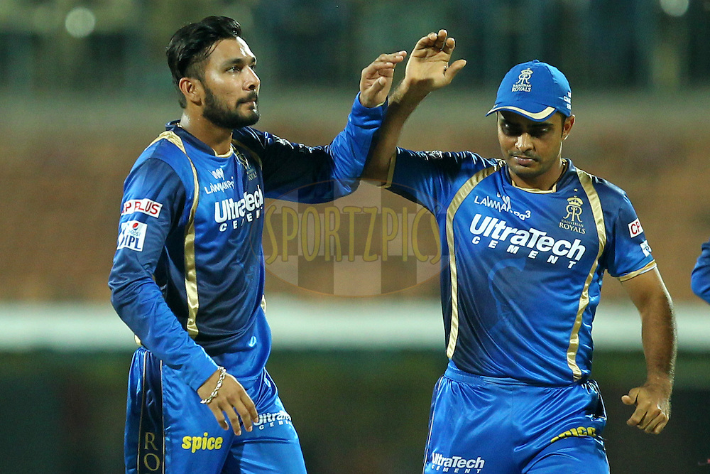 Ankit Sharma  of Rajasthan Royals celebrates wicket of Dwayne Smith during match 47 of the Pepsi IPL 2015 (Indian Premier League) between The Chennai Superkings and The Rajasthan Royals held at the M. A. Chidambaram Stadium, Chennai Stadium in Chennai, India on the 10th May 2015.Photo by:  Prashant Bhoot / SPORTZPICS / IPL