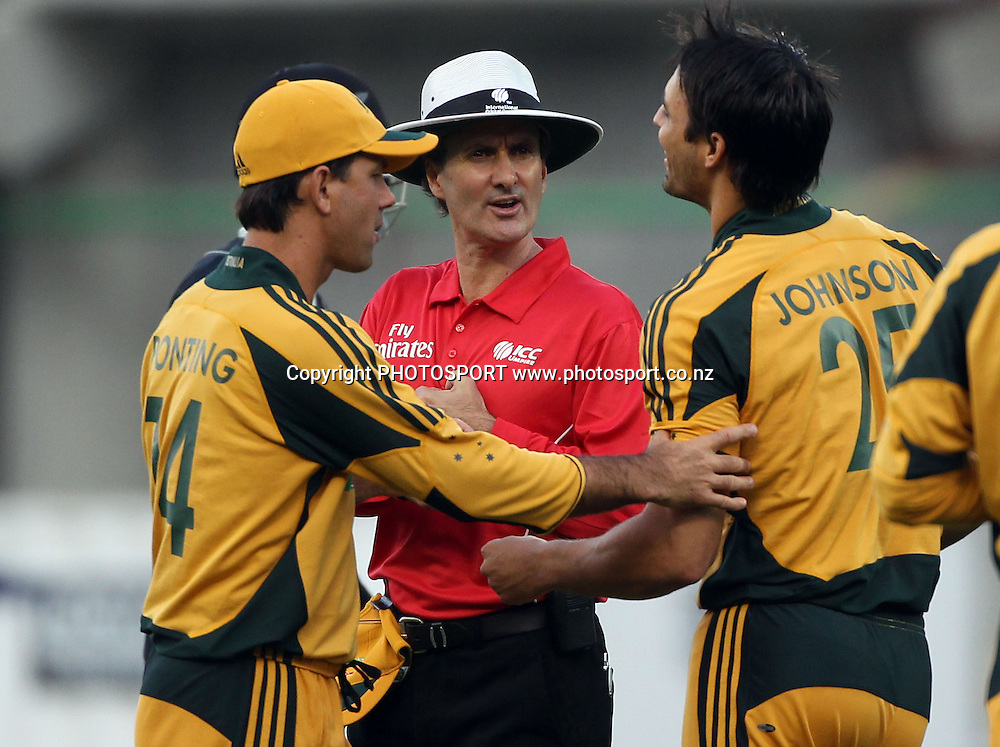Ricky Ponting and Mitchell Johnson talk to Umpire Billy Bowden. 2nd one day international. New Zealand Black Caps versus Australia one day Chappell Hadlee cricket series. Eden Park, Auckland, New Zealand. Saturday 6 March 2010. Photo: Andrew Cornaga/PHOTOSPORT