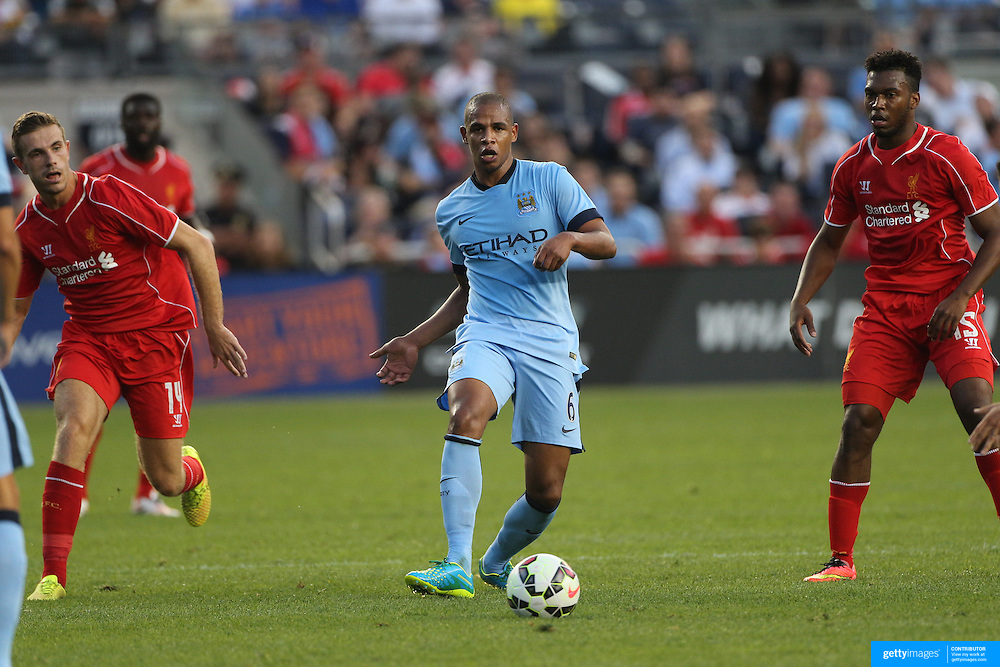 Fernando, (centre), Manchester City, in action during the Manchester City Vs Liverpool FC Guinness International Champions Cup match at Yankee Stadium, The Bronx, New York, USA. 30th July 2014. Photo Tim Clayton