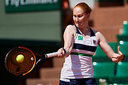 Paris, France - 2017 June 01: Alison Van Uytvanck from Belgium plays a forehand during her women's single match second round during tennis Grand Slam tournament The French Open 2017 (also called Roland Garros) at Stade Roland Garros on June 01, 2017 in Paris, France.<br /> <br /> Mandatory credit:<br /> Photo by &copy; Adam Nurkiewicz<br /> <br /> Adam Nurkiewicz declares that he has no rights to the image of people at the photographs of his authorship.<br /> <br /> Picture also available in RAW (NEF) or TIFF format on special request.<br /> <br /> Any editorial, commercial or promotional use requires written permission from the author of image.