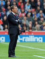 Liverpool Manager, Brendan Rodgers looks on- Photo mandatory by-line: Nizaam Jones/JMP - Mobile: 07966 386802 - 24/05/2015 - SPORT - Football - Stoke - Britannia Stadium - Stoke City v Liverpool - Barclays Premier League