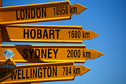 NEW ZEALAND SOUTHLAND BLUFF 22DEC07 - Signpost at Stirling Point outside Bluff depicting the distances and directions to various major cities around the world, including the Equator and the South Pole. Bluff is New Zealand's most southerly town and the oldest European town in New Zealand, being permanently settled since 1824...jre/Photo by Jiri Rezac..© Jiri Rezac 2007..Contact: +44 (0) 7050 110 417.Mobile:  +44 (0) 7801 337 683.Office:  +44 (0) 20 8968 9635..Email:   jiri@jirirezac.com.Web:    www.jirirezac.com..© All images Jiri Rezac 2007 - All rights reserved.