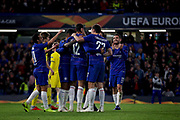 Chelsea players celebrate Chelsea FC midfielder Ruben Loftus-Cheek (12) hat trick goal 3-0 Chelsea during the Europa League group stage match between Chelsea and BATE Borisov at Stamford Bridge, London, England on 25 October 2018.