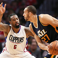 25 March 2016: LA Clippers center DeAndre Jordan (6) defends on Utah Jazz center Rudy Gobert (27) during the Los Angeles Clippers 108-95 victory over the Utah Jazz, at the Staples Center, Los Angeles, California, USA.