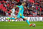 Joe Hart of England goal kick during the FIFA World Cup Qualifier group stage match between England and Lithuania at Wembley Stadium, London, England on 26 March 2017. Photo by Matthew Redman.