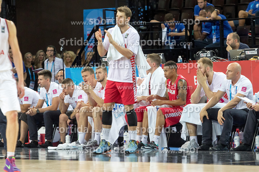 06.09.2015, Park Suites Arena, Montpellier, FRA, Russland vs Polen, Gruppe A, im Bild ALEKSANDER CZYZ (0) // during the FIBA Eurobasket 2015, group A match between Russia and Poland at the Park Suites Arena in Montpellier, France on 2015/09/06. EXPA Pictures &copy; 2015, PhotoCredit: EXPA/ Newspix/ Pawel Pietranik<br /> <br /> *****ATTENTION - for AUT, SLO, CRO, SRB, BIH, MAZ, TUR, SUI, SWE only*****