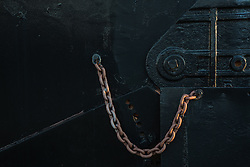 detail of a rugged chain from a train