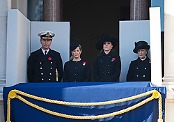 © London News Pictures. 11/11/2012. London, UK. Sophie, Countess of Wessex (centre left) and Catherine Duchess of Cornwall (centre right) look on during the Remembrance Day Ceremony at the Cenotaph on November 13, 2011 in London, United Kingdom. Politicians and Royalty joined the rest of the county in honouring the war dead by gathering at the iconic memorial to lay wreaths and observe two minutes silence. Photo Credit: Ben Cawthra/LNP