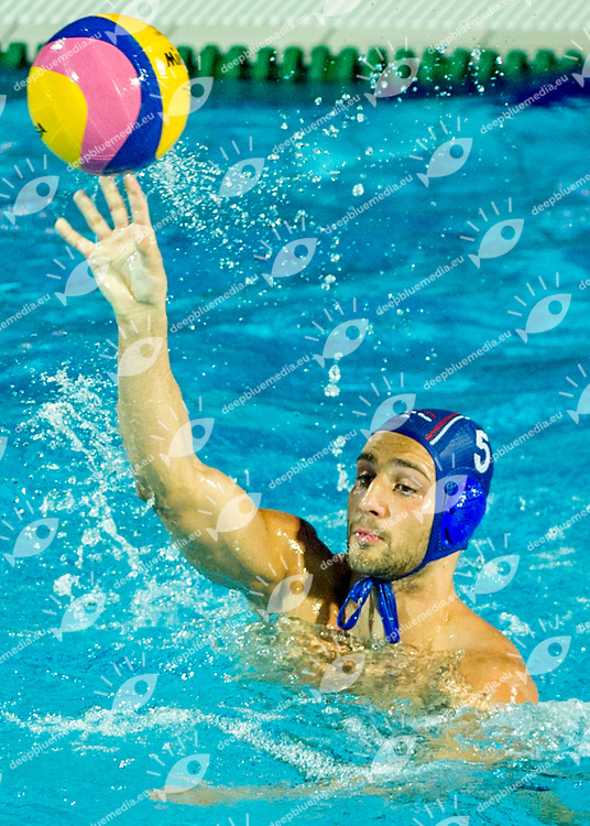 5 CUK Milos SRB<br /> Hungary (White) Vs Serbia (Blue) Men<br /> LEN European Water Polo Championships 2014 - July 14-27<br /> Alfred Hajos - Tamas Szechy Swimming Complex<br /> Margitsziget - Margaret Island<br /> Day14 - July 27<br /> Photo Pasquale Mesiano/Inside/Deepbluemedia