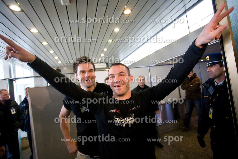 Slovenian Boxer Dejan Zavec alias Jan Zaveck alias Mr. Simpatikus and his fitness coach Tomaz Jagarinec (L) at reception after he won in fight versus Isaac Hlatshwayo in Johannesburg (JAR) and became IBF version Welterweight World Champion, on December 13, 2009, in Airport Joze Pucnik, Brnik, Slovenia. (Photo by Vid Ponikvar / Sportida)